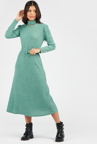 Ribbed Midi A-line Dress with High Neck and Belt
