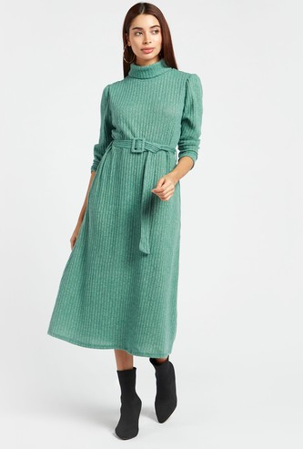 Ribbed Midi A-line Dress with Turtle Neck and Belt