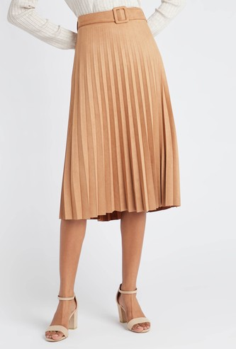 Pleated Midi A-line Skirt with Elasticised Waistband and Belt