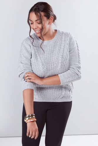 Textured Sweater with Long Sleeves and Pearl Detail