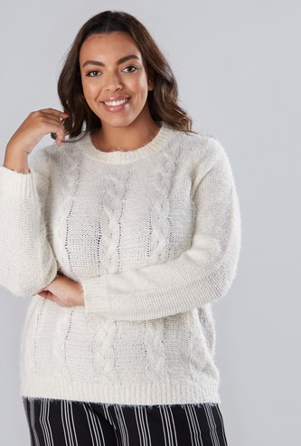 Textured Jumper with Round Neck and Long Sleeves