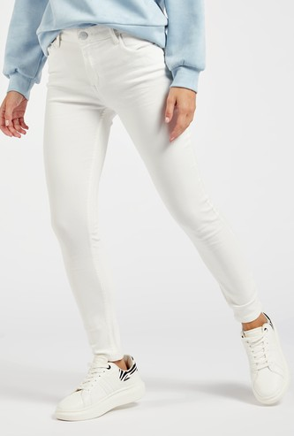 Skinny Fit Solid Cropped Jeggings with Button Closure