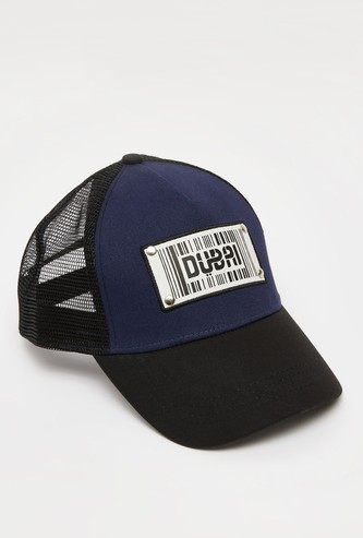 Applique Detail Cap with Mesh Panels and Snap Back Closure