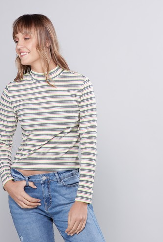 Striped T-shirt with High Neck and Long Sleeves