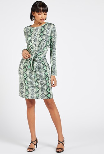 Animal Print Knee-Length A-line Dress with Long Sleeves and Knot Detail