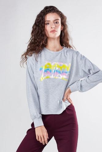 Slogan Print T-shirt with Long Sleeves