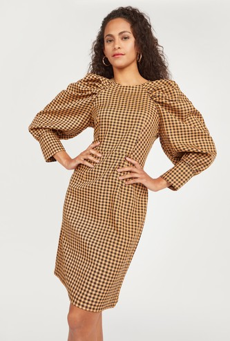 Checked Mini Dress with Puff 3/4 Sleeves