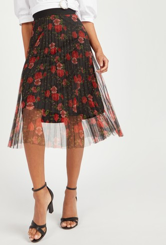Floral Print Midi A-line Skirt with Elasticised Waistband