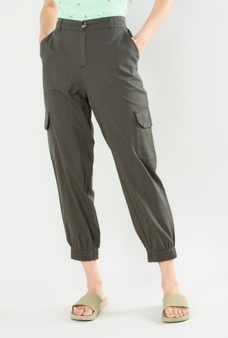 Solid Pants with Belt Loops and Pocket Detail