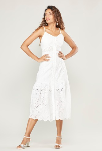 Schiffli Detail Midi Strappy Dress with Scalloped Hem