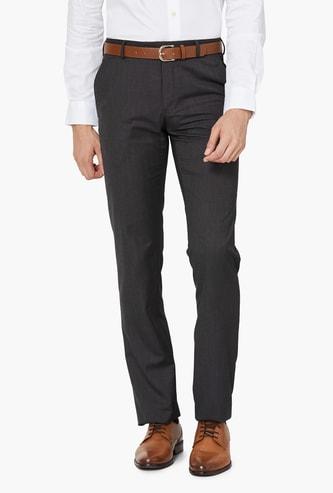 VAN HEUSEN Solid Mid Rise Slim Fit Formal Trousers
