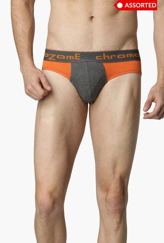 CHROMOZOME Solid Mens Brief Set- 2 Pcs. - Assorted Colour & Design