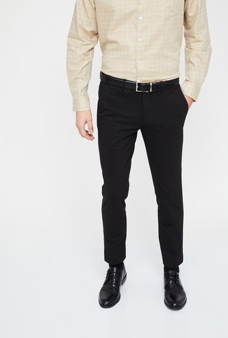 CODE Solid Low Rise Slim Fit Trousers