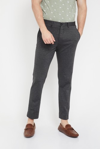 CODE Patterned Flat-Front Cropped Trousers