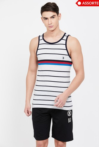 U.S. POLO ASSN Striped Sleeveless Vest - ASSORTED Colour & Design