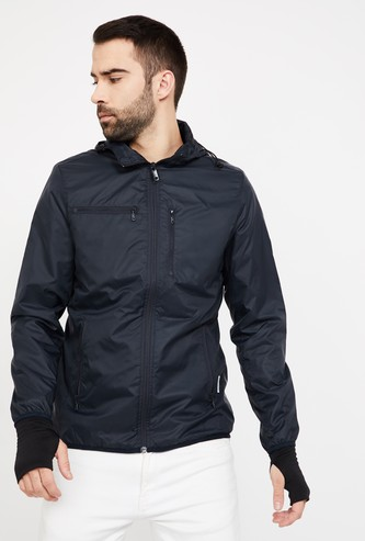 VH SPORTS Solid Hooded Zip-Closure Jacket