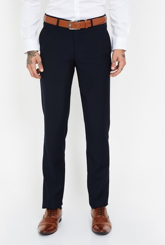 LOUIS PHILIPPE Solid Slim Fit Formal Trousers