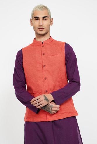 MELANGE Micro Checked Sleeveless Ethnic Jacket