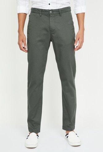 CODE Textured Slim Fit Casual Trousers