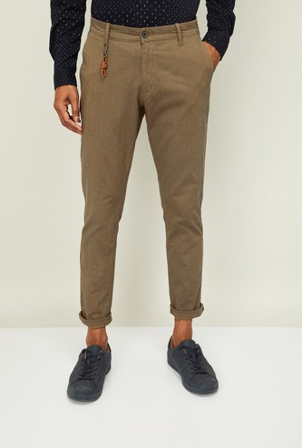 CODE Men Solid Slim Tapered Fit Casual Trousers