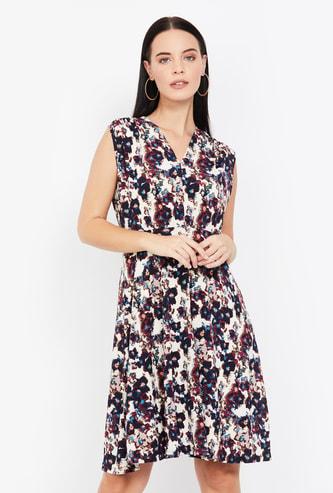 ALLEN SOLLY Floral Print Sleeveless Skater Dress