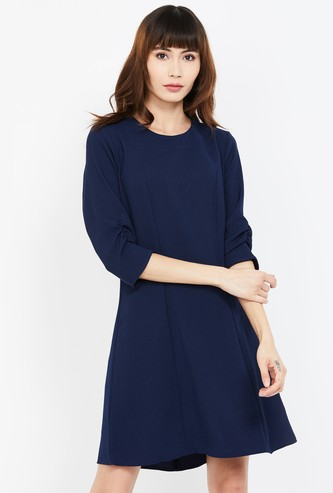 ALLEN SOLLY Solid Scrunched Sleeves Skater Dress