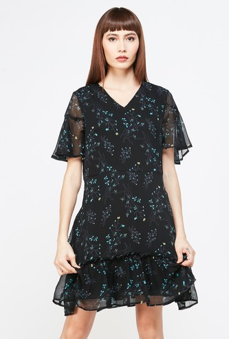 ALLEN SOLLY Printed A-line Dress