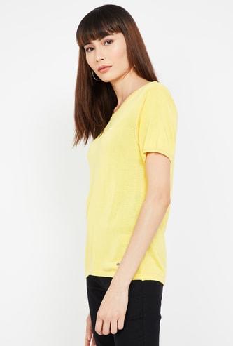 ALLEN SOLLY Solid Short Sleeves T-shirt