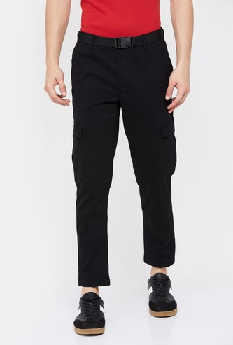 UCLA Men Solid Slim Straight Fit Cargo Trousers