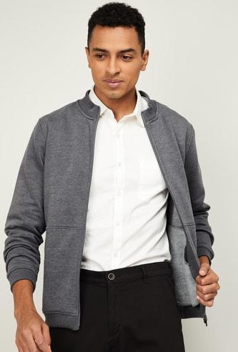 LP SPORT Men Solid Open-Front Sweatshirt