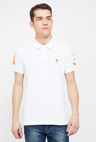 U.S. POLO ASSN. Regular Fit Polo T-shirt with Printed Back