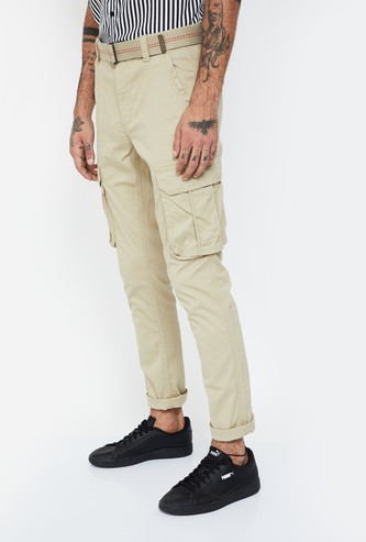 T-BASE Solid Cargo Regular Fit Trousers with Belt