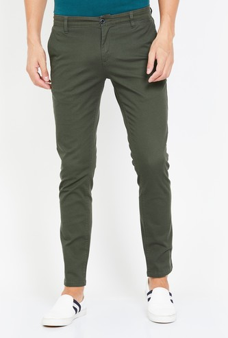 FAME FOREVER Men Solid Slim Fit Casual Trousers