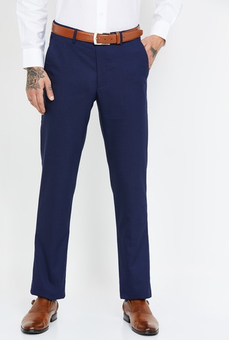 LOUIS PHILIPPE Checked Slim Fit Formal Trousers