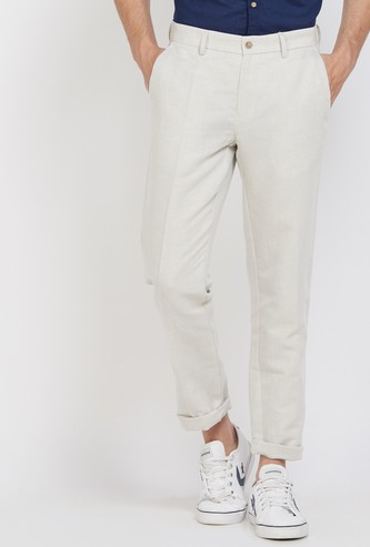 LOUIS PHILIPPE Solid Slim Fit Casual Trousers