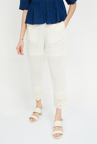 DE MOZA Solid Elasticated Cigarette Pants