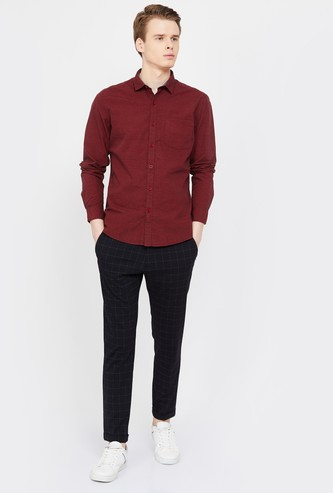 FAME FOREVER Solid Full Sleeves Slim Fit Casual Shirt