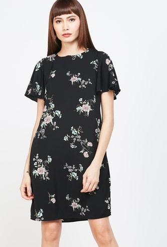 ALLEN SOLLY Floral Print Flutter Sleeves A-line Dress
