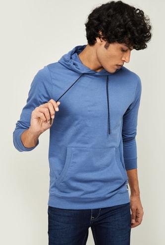 FORCA Men Solid Full Sleeves Hooded Sweatshirt