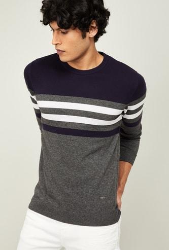 BOSSINI Men Striped Colourblock Sweatshirt