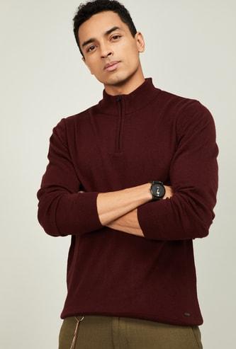 CODE Men Solid High-Neck Sweater
