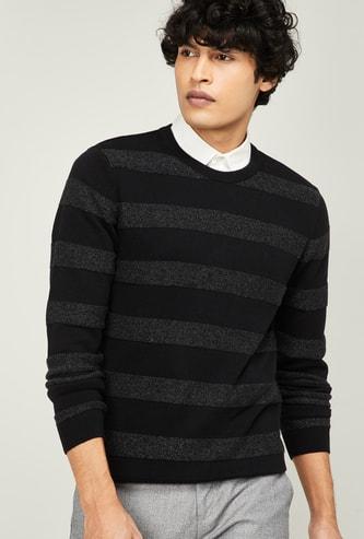 CODE Striped Crew-Neck Sweater