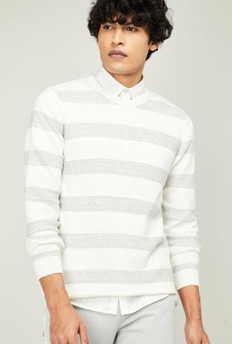 CODE Men Striped Crew-Neck Sweater