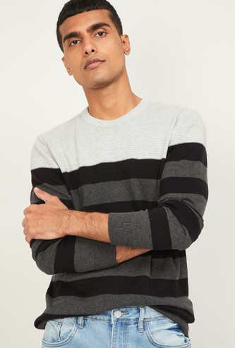 CODE Men Striped Sweater