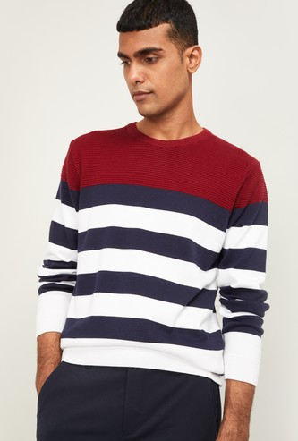 CODE Men Striped Full Sleeves Sweater