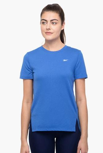 REEBOK Women Solid Round Neck Sports T-shirt