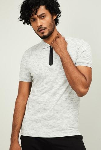 U.S. POLO ASSN. Men Textured Short Sleeves Regular Fit Polo T-shirt