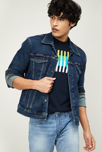 LEVI'S Men Solid Denim Jacket with Insert Pockets