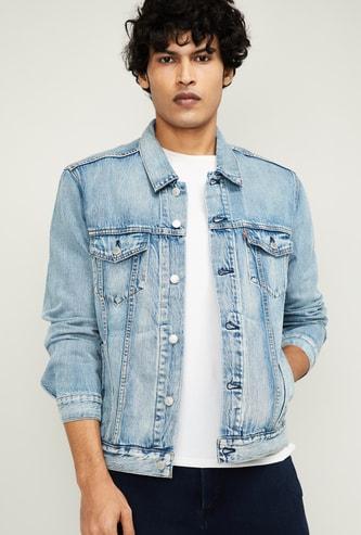 LEVI'S Men Mid-Washed Denim Jacket with Insert Pockets