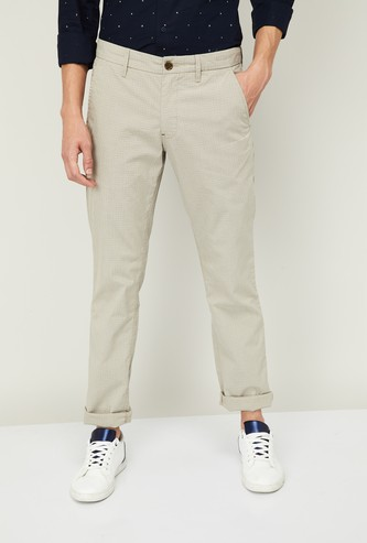 LP SPORT Men Checked Slim Fit Casual Trousers